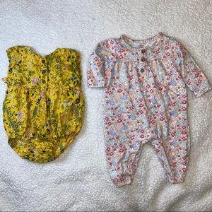 Old navy & Carter's 0-3 months floral bodysuit